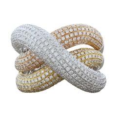 Diamond Tri-Tone Gold Crossover Ring