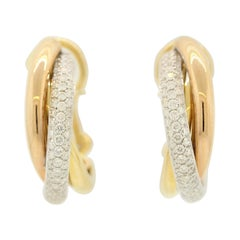 Diamond Tri-Tone Gold Hoop Earrings