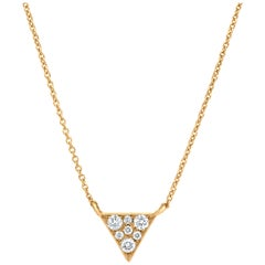 Diamond Triangle Pendant Necklace in 18k Yellow Gold