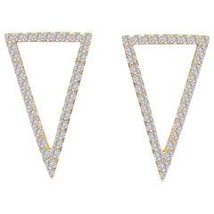 Diamond Triangles Earring in 18 Karat Gold