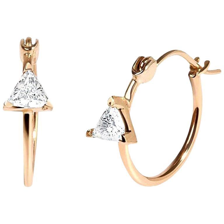 Diamond Trillion 0.46 Carat 14 Karat Yellow Gold Hoop Earrings