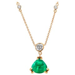 Diamond Trillion Cabochon Colombian Emerald Yellow Gold Drop Necklace