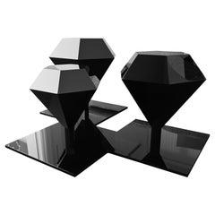 Diamond Trilogy Coffee Table, Polymethilmetacrilate, Glossy Black, Handmade