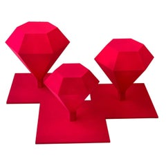 Diamond Trilogy Coffee Table, Polymethilmetacrilate, Rubin Velvet, Handmade