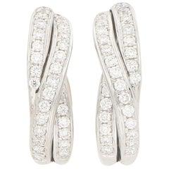 Diamond Trinity Huggy Hoop Earrings Set in 18 Karat White Gold