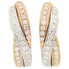 Diamond Trinity Huggy Hoop Earrings Set in 18 Karat Yellow, White and Rose Gold