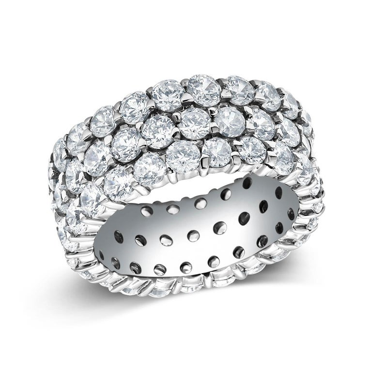 Triple Row Diamond Prong Set Eternity 18 Karats Gold Ring Weighing 5.52 Carat For Sale 1