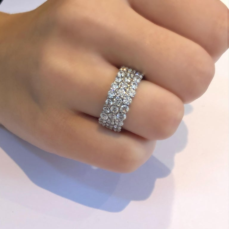 Triple Row Diamond Prong Set Eternity 18 Karats Gold Ring Weighing 5.52 Carat For Sale 3