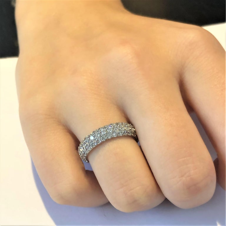 Triple Row Diamond Prong Set Eternity 18 Karats Gold Ring Weighing 5.52 Carat In New Condition For Sale In New York, NY