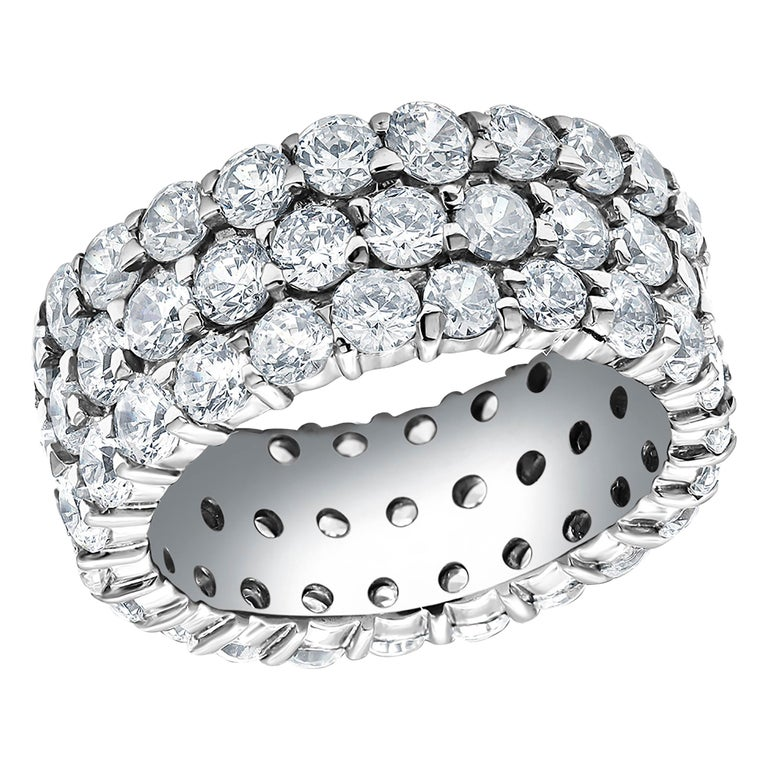 Triple Row Diamond Prong Set Eternity 18 Karats Gold Ring Weighing 5.52 Carat For Sale
