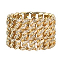 Diamond Triple Stack Cuban Link Ring, White Gold