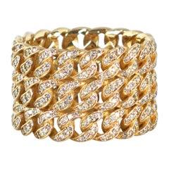 Diamond Triple Stack Cuban Link Ring, Yellow Gold