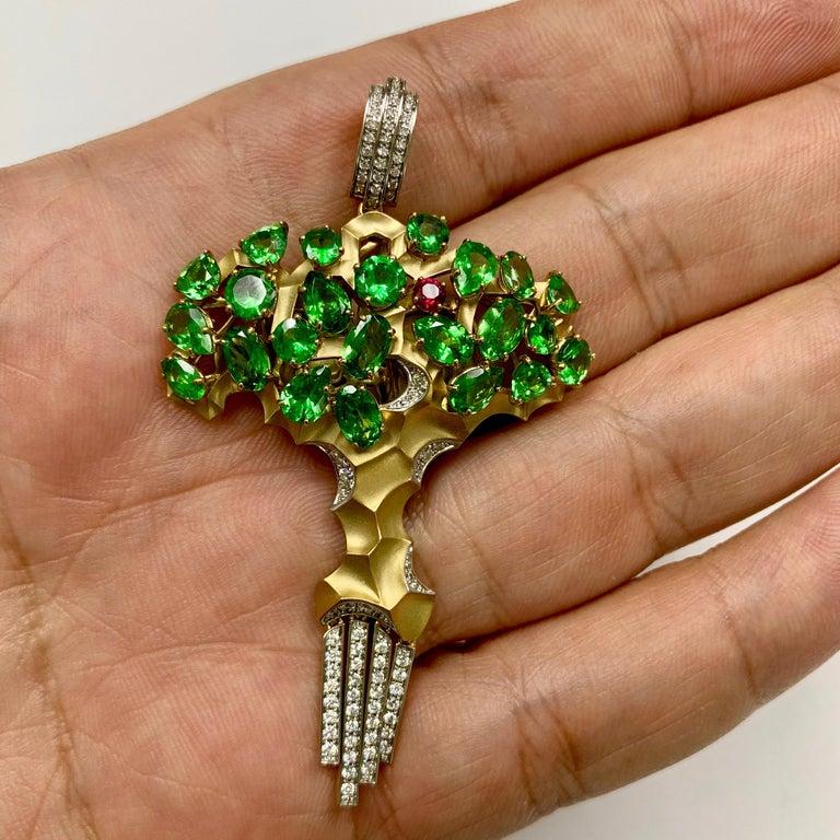 Contemporary Diamond Tsavorite 18 Karat Yellow Gold Eden Tree Pendant For Sale