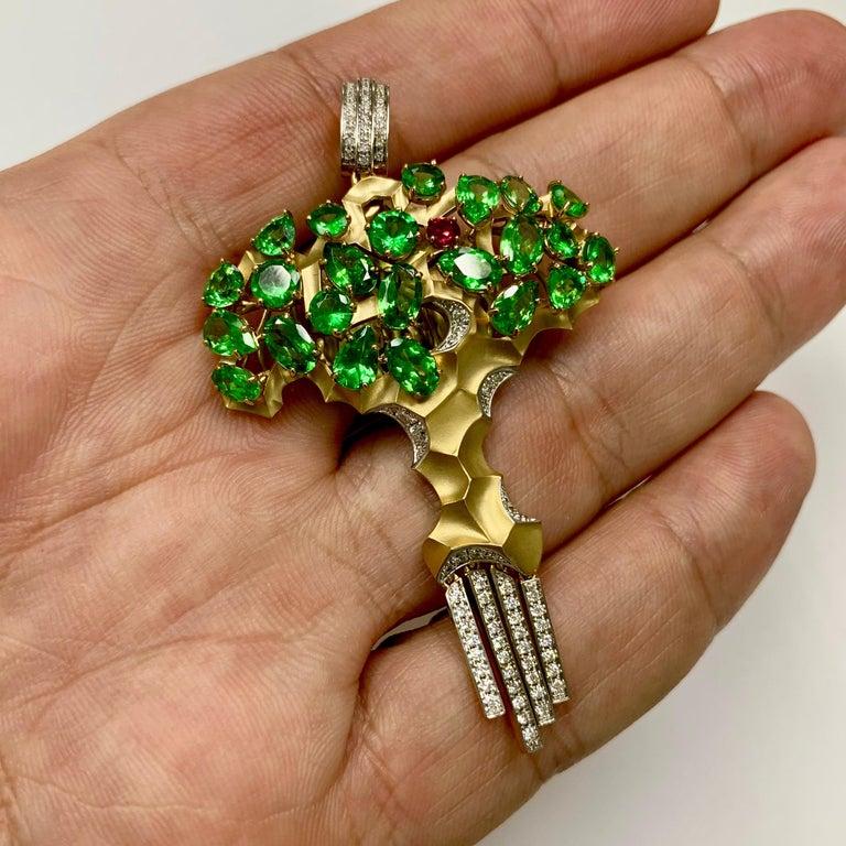 Diamond Tsavorite 18 Karat Yellow Gold Eden Tree Pendant For Sale 2