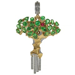 Diamond Tsavorite 18 Karat Yellow Gold Eden Tree Pendant