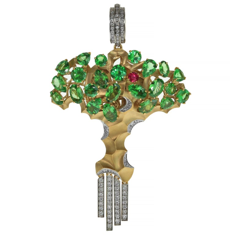 Diamond Tsavorite 18 Karat Yellow Gold Eden Tree Pendant For Sale
