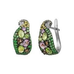 Diamond Garnet Quartz Chrysolite Designer Fashion Lever-Back Gold Earrings