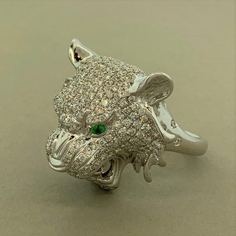 Round Cut Diamond Tsavorite Ruby Lion Ring For Sale