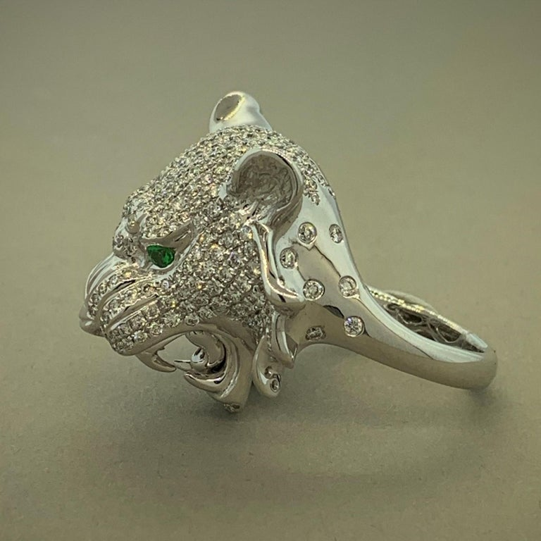 Diamond Tsavorite Ruby Lion Ring In New Condition For Sale In Beverly Hills, CA