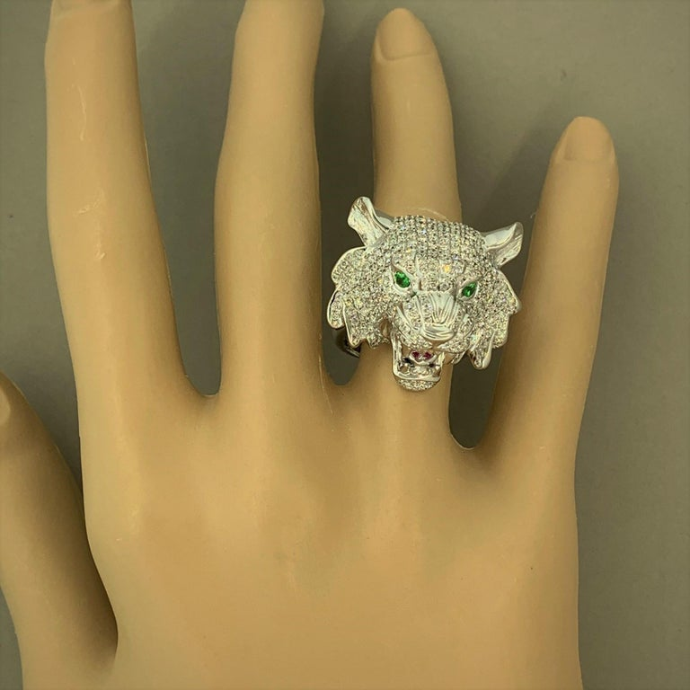 Diamond Tsavorite Ruby Lion Ring For Sale 1