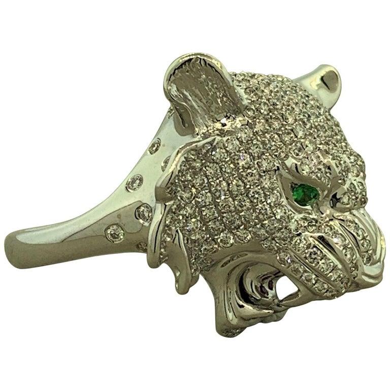 Diamond Tsavorite Ruby Lion Ring For Sale
