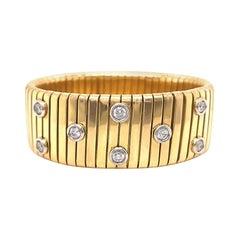 Diamond Tubogas Bangle Bracelet 18k Gold Vintage, Italian