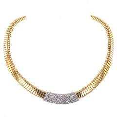Diamond Tubogas Two-Tone 18 Karat Gold Choker Necklace