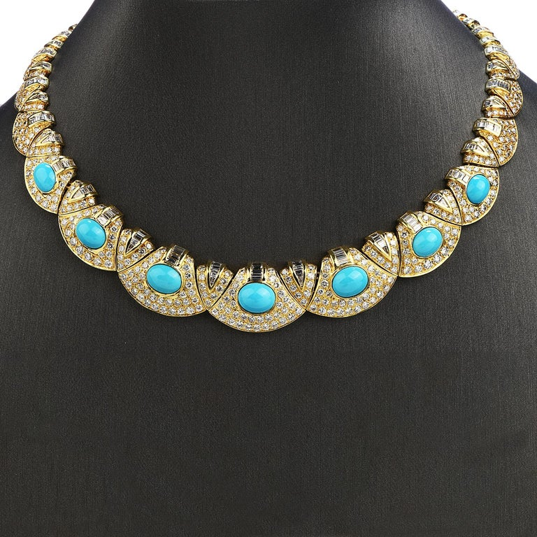 Graduated style elegant choker necklace with Diamonds enhanced by Turquoise center stones.  Crafted in solid 18K yellow gold,  center composed of 7 cabochon oval cut, bezel-set, natural Turquoise weighing approximately 17.00 carats  Adorned by some