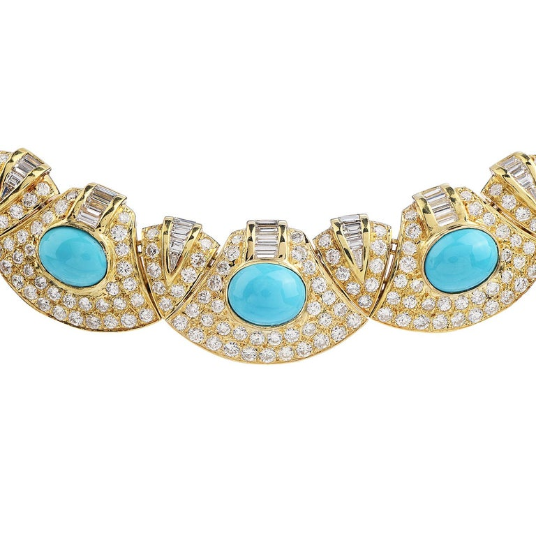 Retro Diamond Turquoise 18k Gold Graduated Link Choker Necklace For Sale