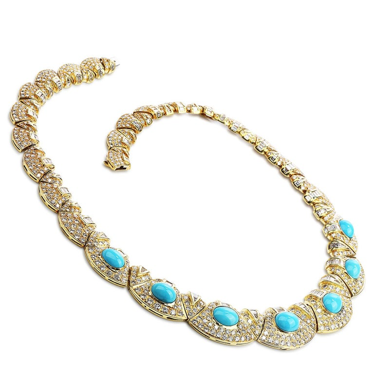 Cabochon Diamond Turquoise 18k Gold Graduated Link Choker Necklace For Sale