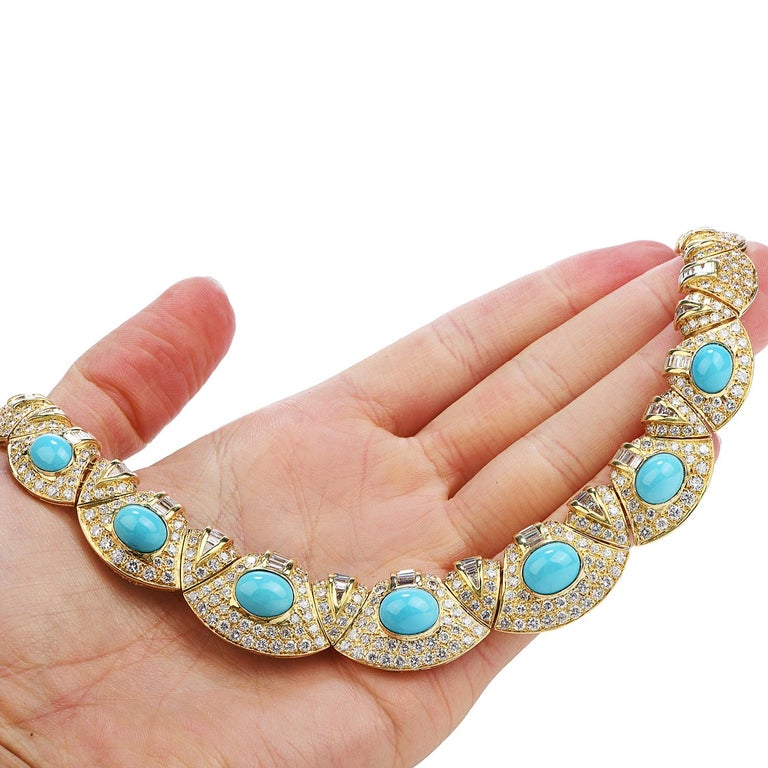 Women's Diamond Turquoise 18k Gold Graduated Link Choker Necklace For Sale