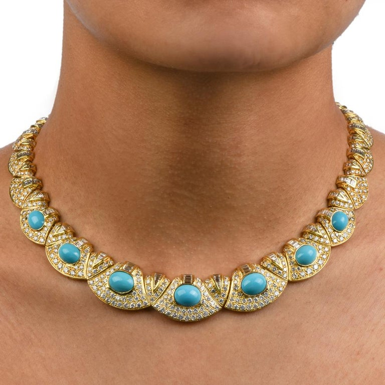 Diamond Turquoise 18k Gold Graduated Link Choker Necklace For Sale 1