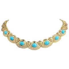 Diamond Turquoise 18k Gold Graduated Link Choker Necklace