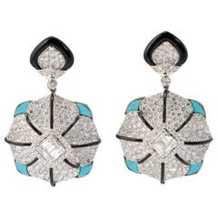 Diamond, Turquoise and Black Onyx Diamond Earrings