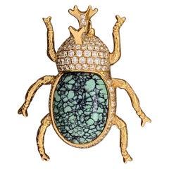 Diamond Turquoise Beetle Pendant-Brooch