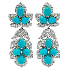 Diamond Turquoise Day and Night White Gold Earrings