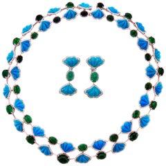 Ambrosi Diamond Turquoise Emerald Necklace and Earrings Set