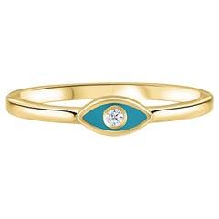 Diamond Turquoise Enamel Eye Ring in 14 Karat Yellow Gold, Shlomit Rogel