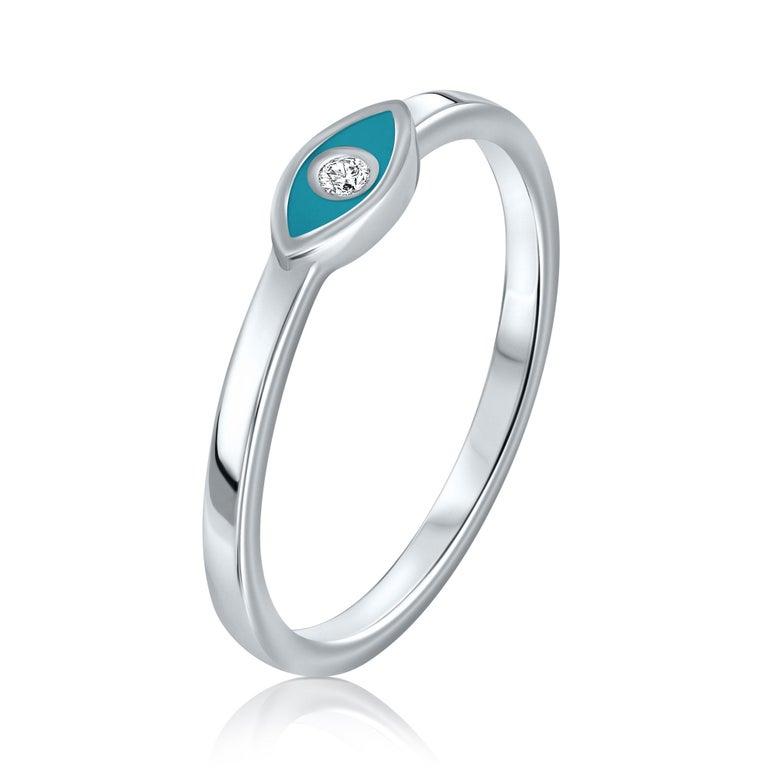 For Sale: undefined Diamond Turquoise Enamel Eye Ring in 14K White Gold, Shlomit Rogel 2