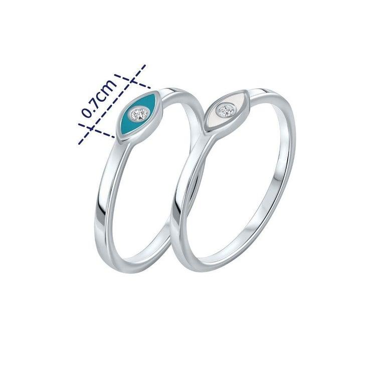 For Sale: undefined Diamond Turquoise Enamel Eye Ring in 14K White Gold, Shlomit Rogel 3