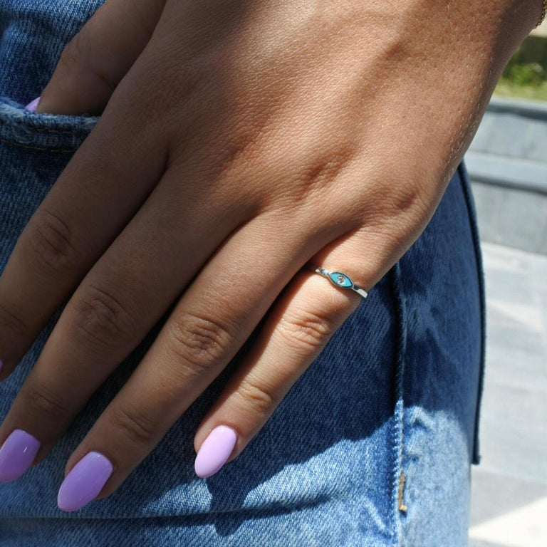 For Sale: undefined Diamond Turquoise Enamel Eye Ring in 14K White Gold, Shlomit Rogel 5