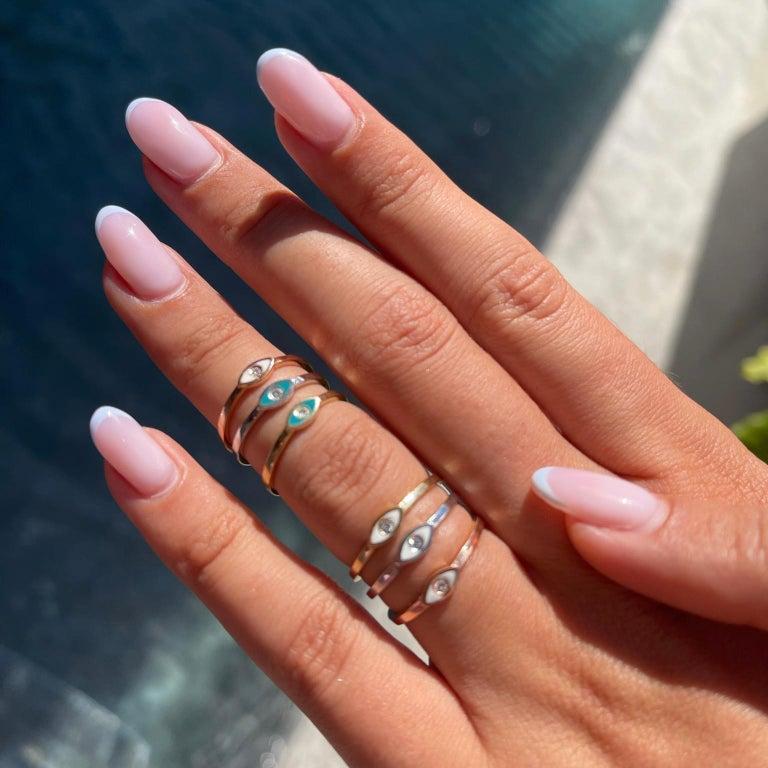 For Sale: undefined Diamond Turquoise Enamel Eye Ring in 14K White Gold, Shlomit Rogel 6