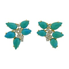 Diamond Turquoise Gold Cocktail Earrings
