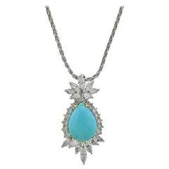 Diamond Turquoise Gold Pendant Necklace
