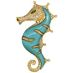 Diamond Turquoise Peridot Gold Seahorse Brooch