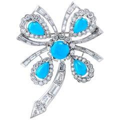 Diamond Turquoise Platinum Cabochon Flower Brooch Pin Pendant