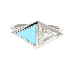 Diamond Turquoise Two-Stone Platinum Engagement Ring