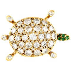 Diamond Turtle Brooch