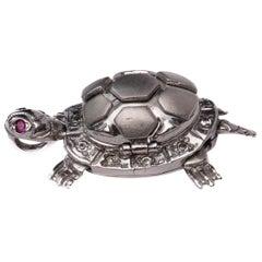 Diamond Turtle Pendant, 18 Karat White Gold