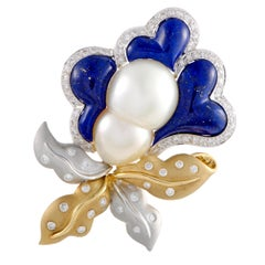 Diamond Twin Pearl and Lapis Large Flower Yellow and White Gold Pendant/Brooch